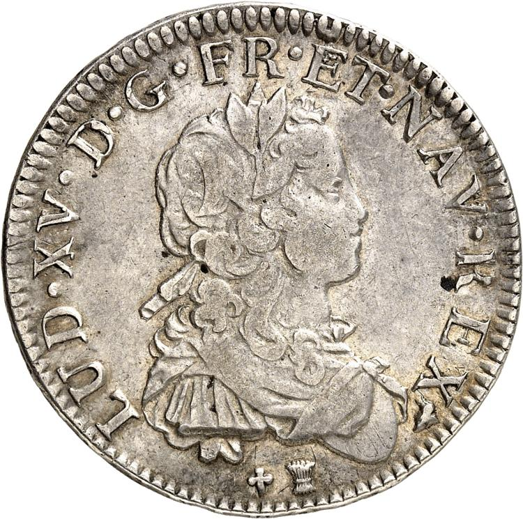 FRANCE Louis XV (1715-1774). ½ écu de France 1721 Rennes, réformation.