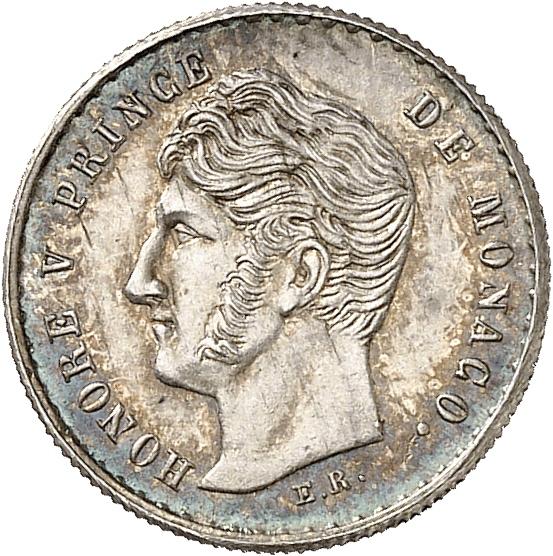 MONACO Honoré V (1819-1841). Quart de franc 1838, essai en argent.