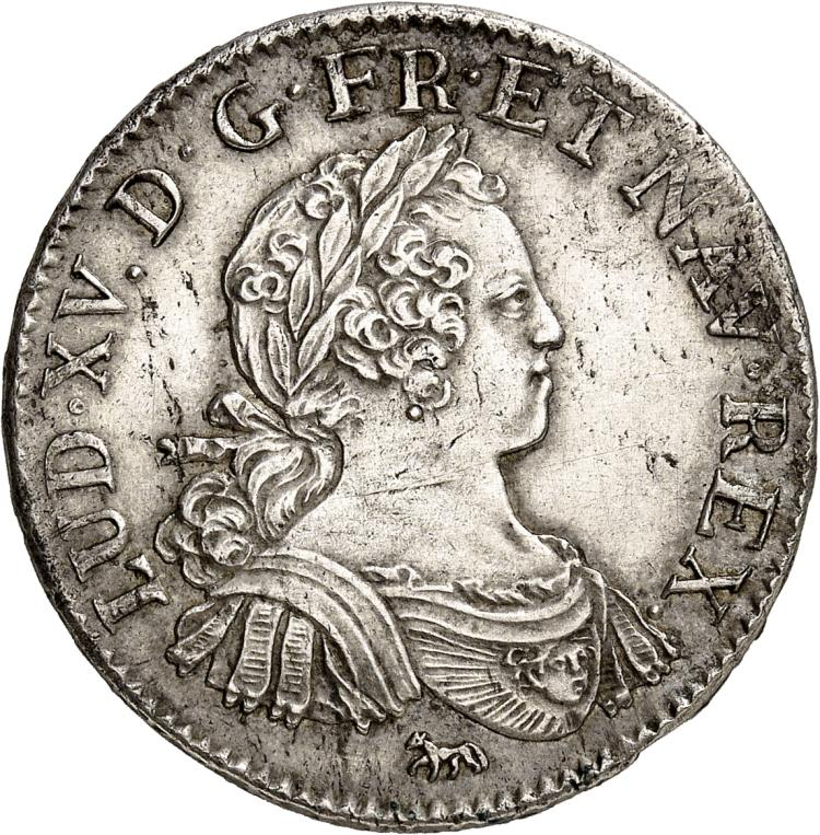 FRANCE Louis XV (1715-1774). ½ écu aux 8 L 1725, Paris.