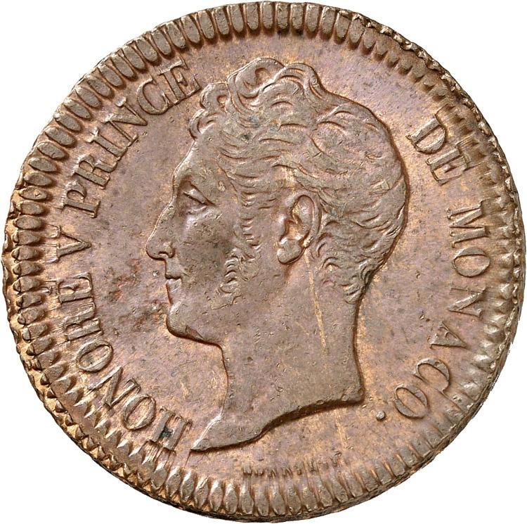 MONACO Honoré V (1819-1841). Décime 1838.