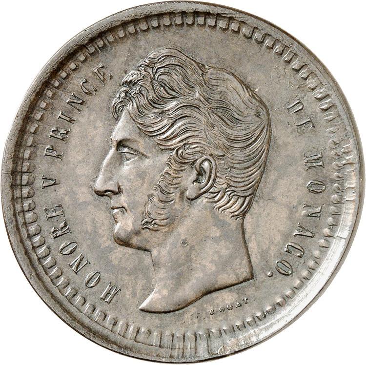 MONACO Honoré V (1819-1841). Décime, essai uniface de l'avers en cuivre.