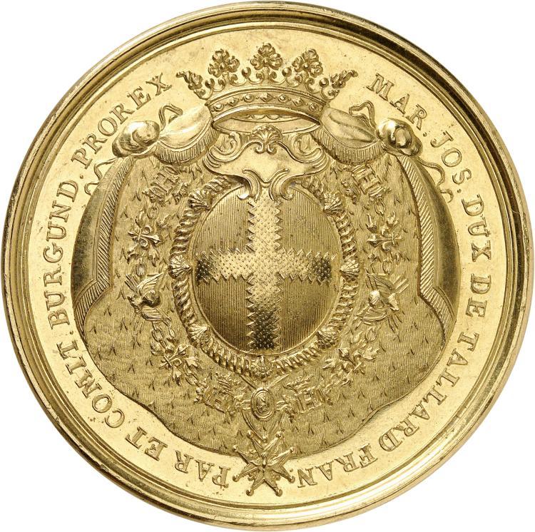 FRANCE Louis XV (1715-1774). Marie-Joseph d'Hostun, duc de Tallard, Pair de France (1684-1755), comte de Bourgogne. Médaille en or, non datée (1752-1755), frappée pour l'académie des sciences et des arts de Besançon, dont le duc fut le fondateur en 1752.