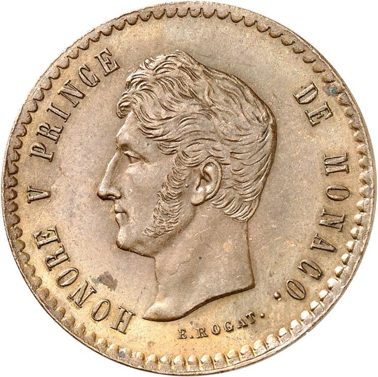 MONACO Honoré V (1819-1841). 5 centimes 1838, essai.