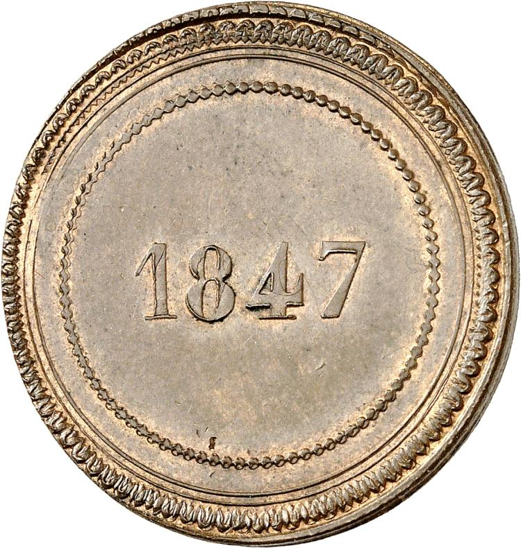 MONACO Florestan Ier (1841-1856). Essai au module du décime 1847.