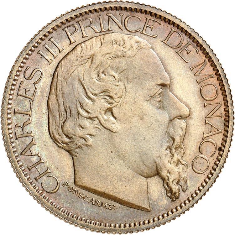 MONACO Charles III (1853-1889). 100 francs 1881, essai en cuivre sans différent.
