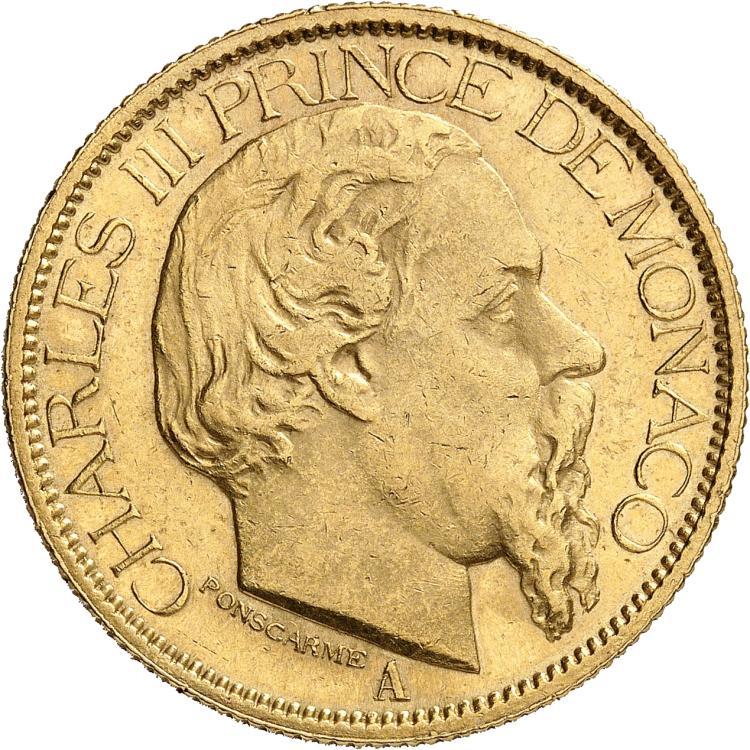 MONACO Charles III (1853-1889). 100 francs 1884.