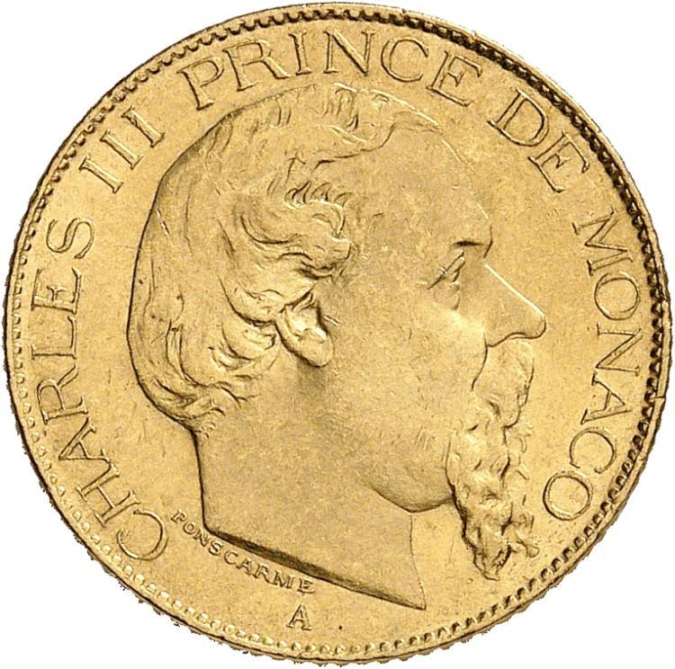 MONACO Charles III (1853-1889). 20 francs 1879.