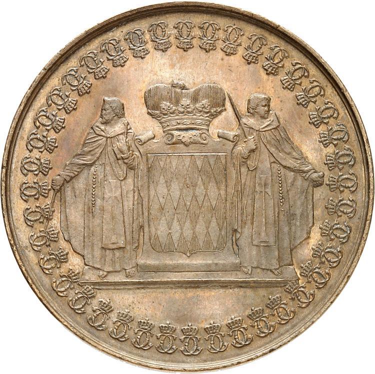 MONACO Charles III (1853-1889). Médaille en bronze 26 janvier 1884.