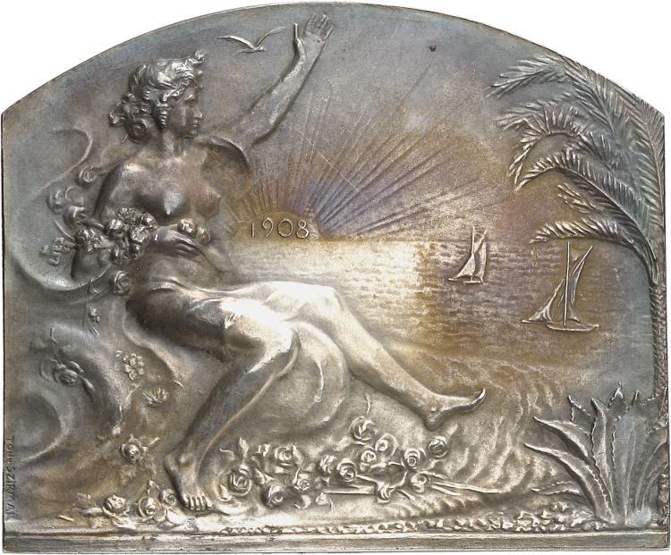 MONACO Albert Ier (1889-1922). Plaque en argent 1908, frappée pour l'inauguration de la ligne ferroviaire reliant Rome, Monaco et Cannes, par SZIRMAÏ, poinçon argent.