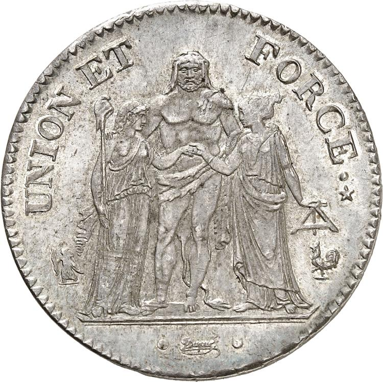 FRANCE Directoire (1795-1799). 5 francs Union et Force An 7, Paris.