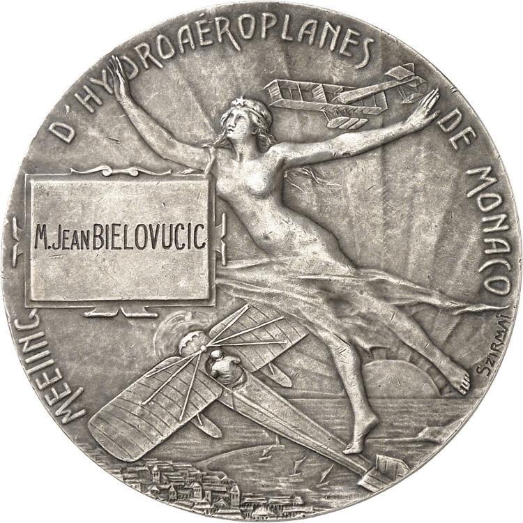 MONACO Albert Ier (1889-1922). Médaille en argent 1912, frappée pour le meeting d'hydroaéroplanes de Monaco, par SZIRMAÏ, poinçon argent.
