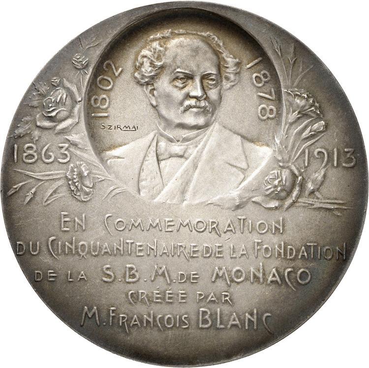 MONACO Albert Ier (1889-1922). Médaille en argent 1913, frappée pour le cinquantenaire de la S.B.M de Monaco (Société des bains de mer), par SZIRMAÏ, poinçon argent.