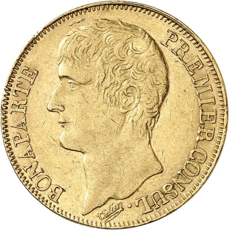FRANCE Consulat (1799-1804). 40 francs An 12, Paris grènetis serré à l'avers.