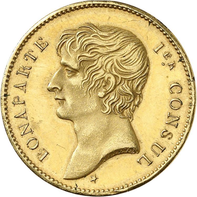 FRANCE Consulat (1799-1804). Essai au module du 2 francs en bronze doré, An X (1801-1802) par Jaley et Gengembre.