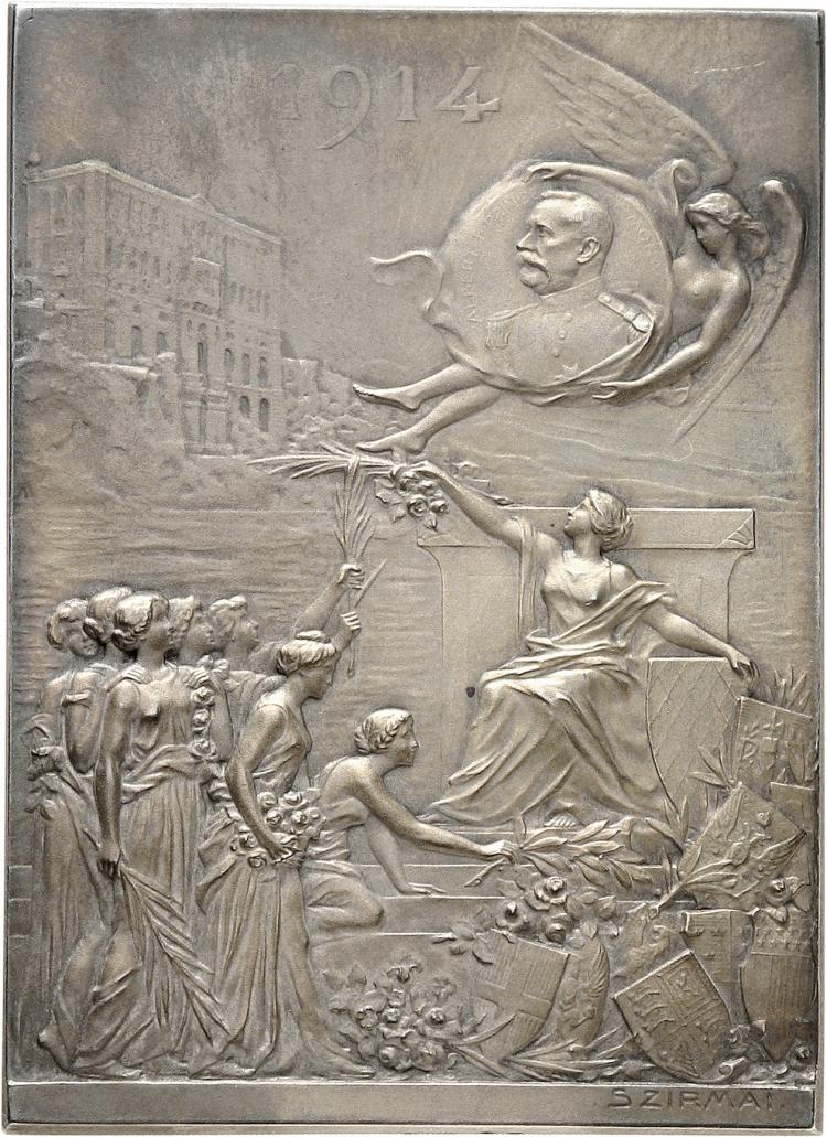 MONACO Albert Ier (1889-1922). Plaque en argent 1914, frappée en hommage des colonies étrangères de la principauté, à S.A.S le Prince Albert Ier pour Ses 25 ans de règne, par Tony Szirmaï, poinçon argent.