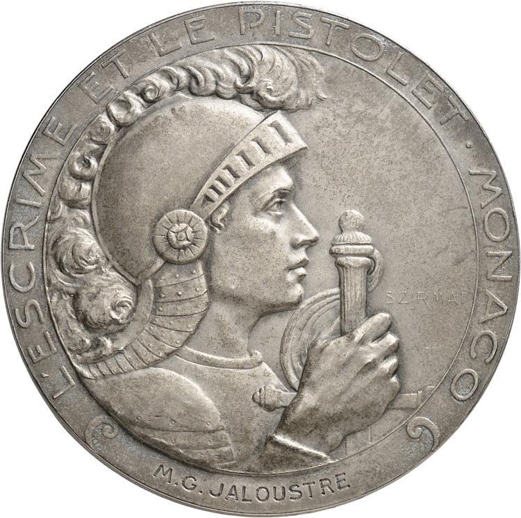 MONACO Albert Ier (1889-1922). Médaille en argent 1914-1915, frappée pour le club d'escrime et de pistolet de Monaco, par Tony Szirmaï, poinçon argent.