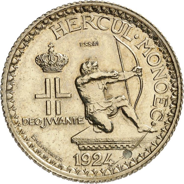 MONACO Louis II (1922-1949). 2 francs 1924, essai en argent.