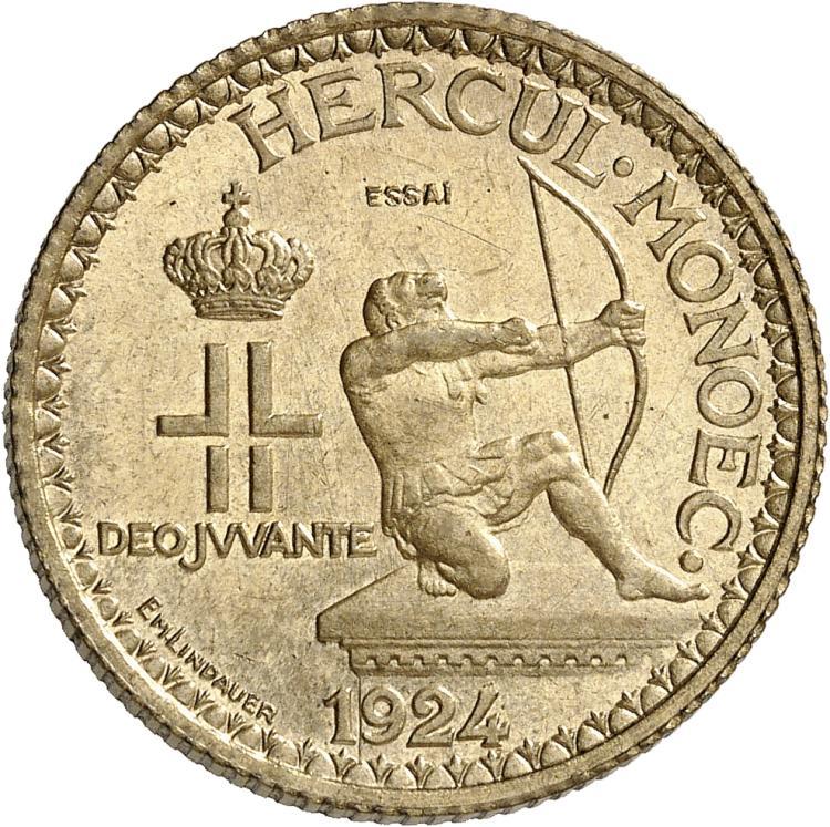 MONACO Louis II (1922-1949). 2 francs 1924, piéfort en bronze-aluminium.