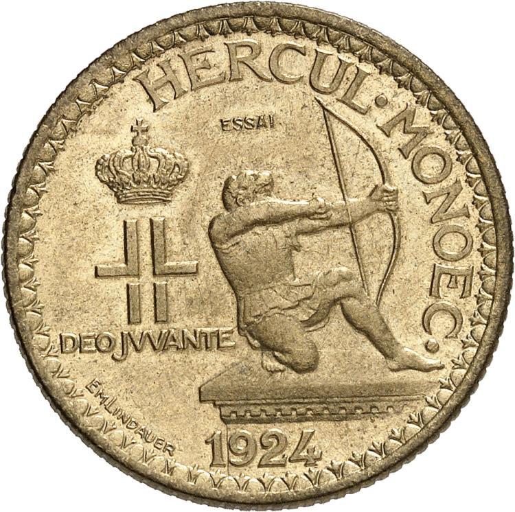 MONACO Louis II (1922-1949). 2 francs 1924, essai.