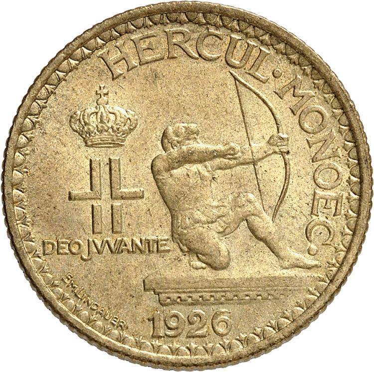 MONACO Louis II (1922-1949). 2 francs 1926.