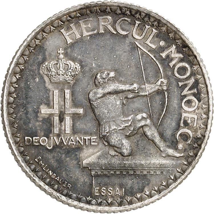 MONACO Louis II (1922-1949). 2 francs 1924, essai en argent, frappe médaille.
