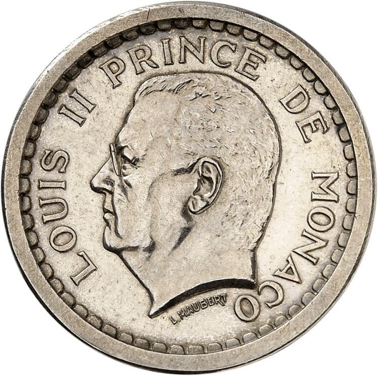 MONACO Louis II (1922-1949). 2 francs non daté (1943), piéfort en argent.