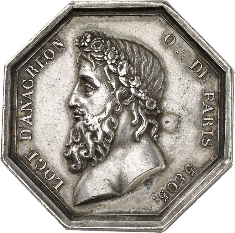 FRANCE Premier Empire (1804-1814), Loge maçonnique d'Anacréon, Orient de Paris. Jeton en argent 1805, frappe d'époque. sans poinçon.