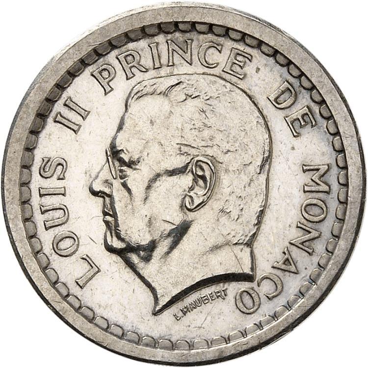 MONACO Louis II (1922-1949). Franc non daté (1943), piéfort en argent.