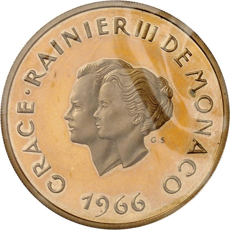 MONACO Rainier III (1949-2005). 200 francs 1966, essai en cupro-nickel.