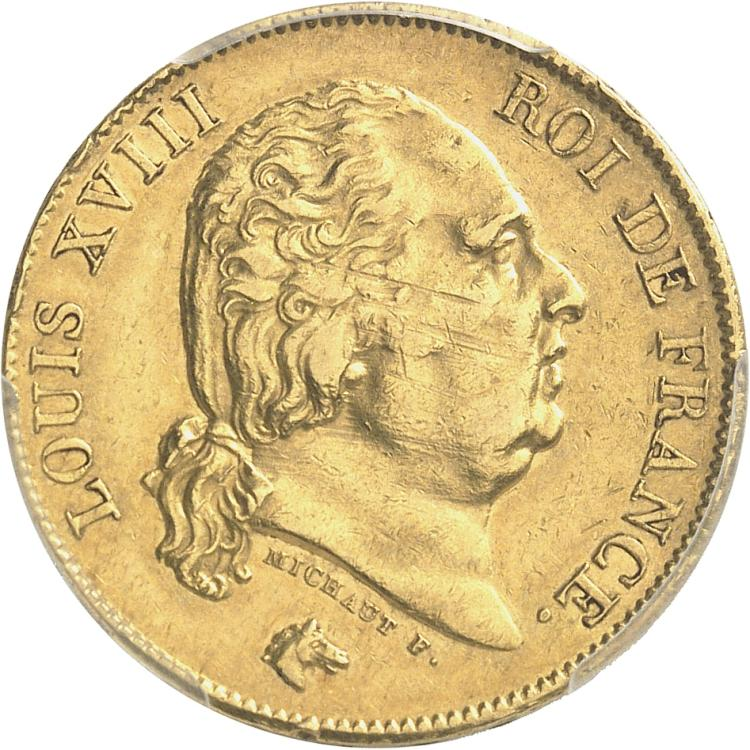 FRANCE Louis XVIII (1814-1824). 40 francs 1820, Paris. 2 regravé sur 1.
