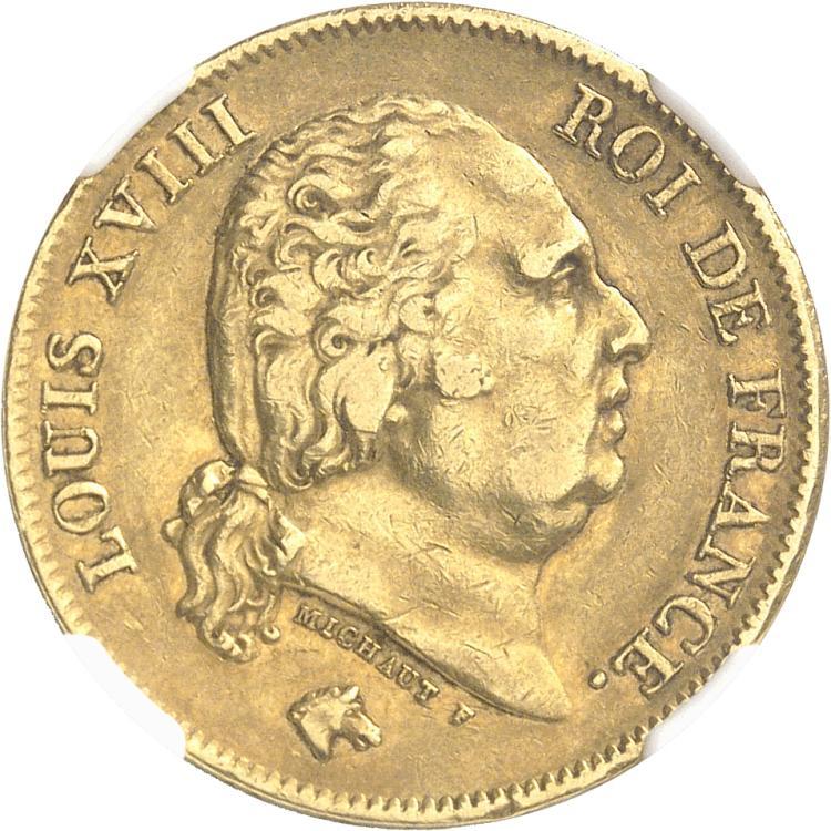 FRANCE Louis XVIII (1814-1824). 40 francs 1822, Paris.