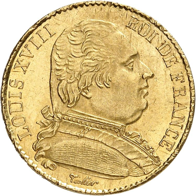 FRANCE Louis XVIII (1814-1824). 20 francs or buste habillé 1815, Paris.