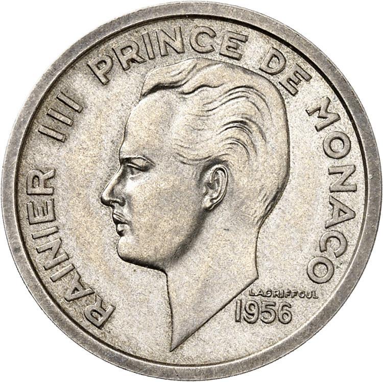 MONACO Rainier III (1949-2005). 100 francs 1956, piéfort en argent.