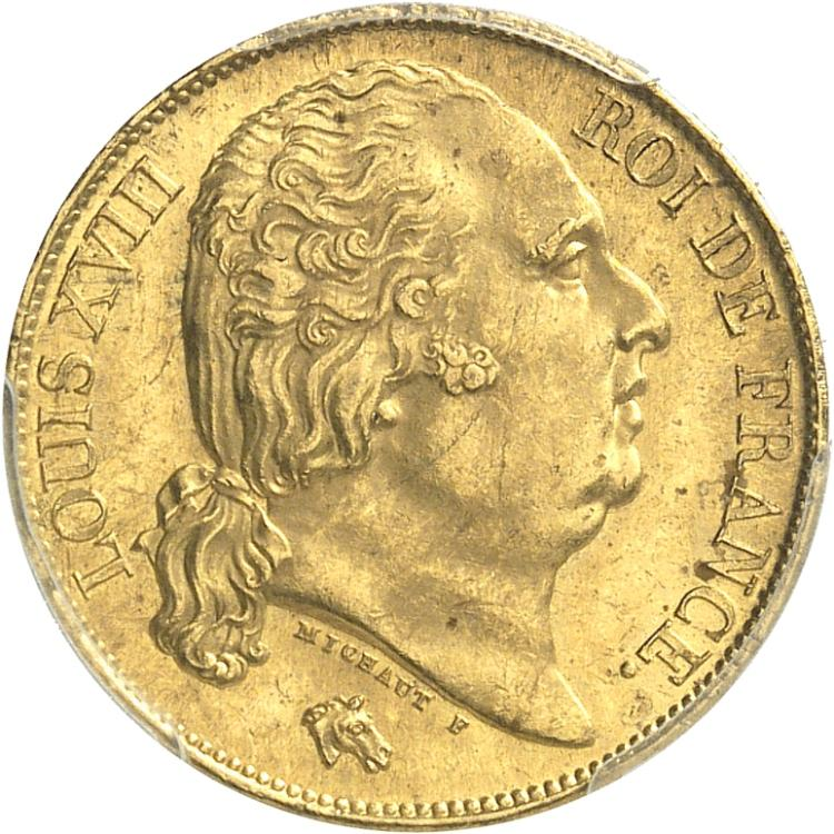 FRANCE Louis XVIII (1814-1824). 20 francs 1824, Paris.