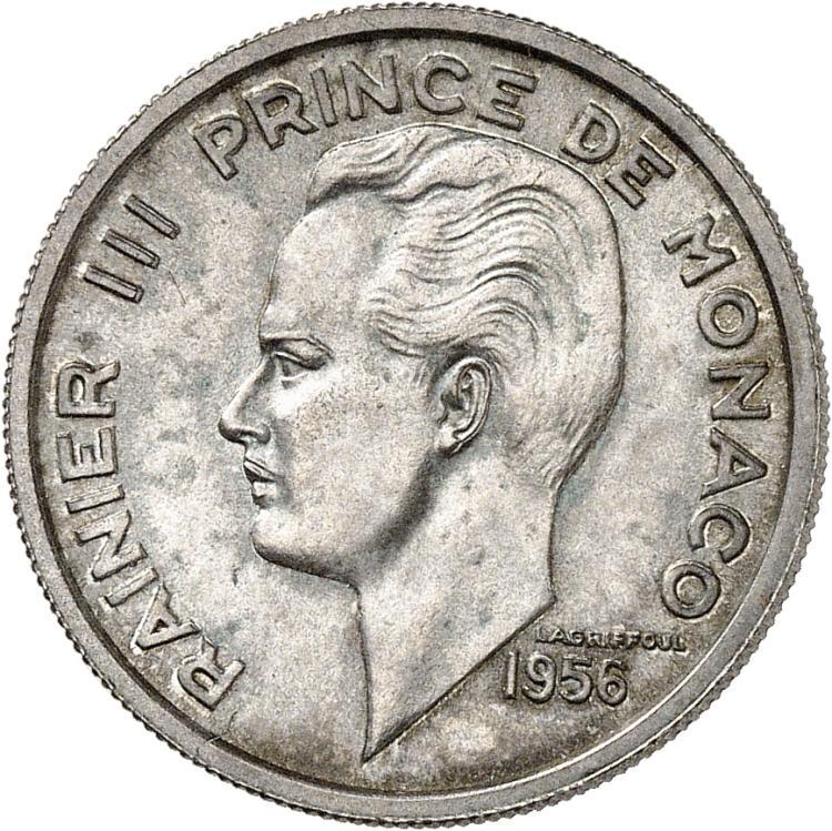MONACO Rainier III (1949-2005). 100 francs 1956, essai en argent.
