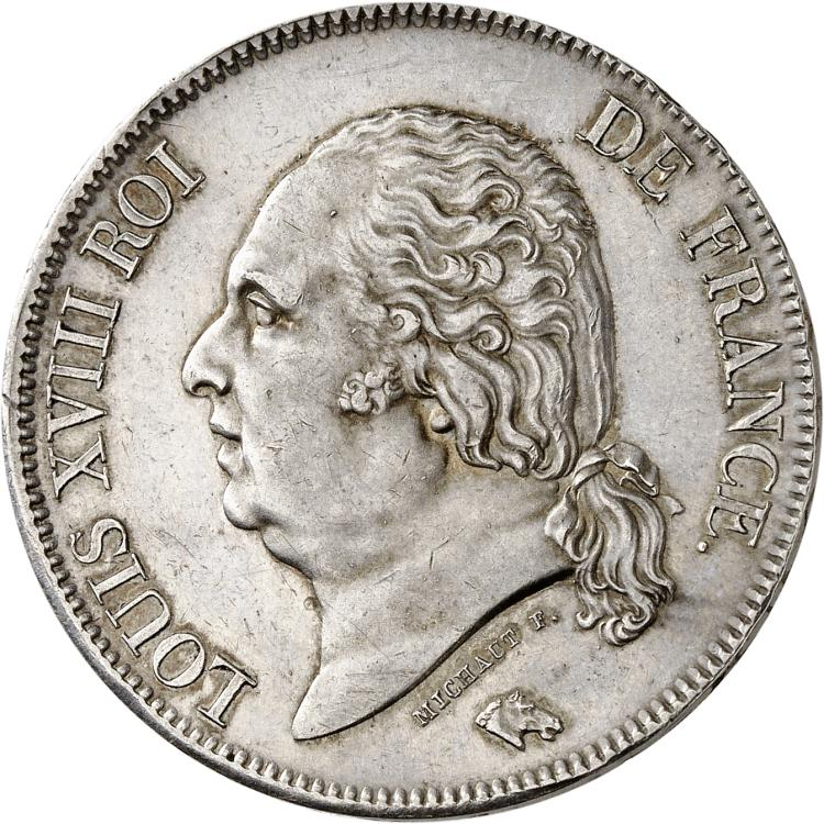 FRANCE Louis XVIII (1814-1824). 5 francs 1824, Marseille.