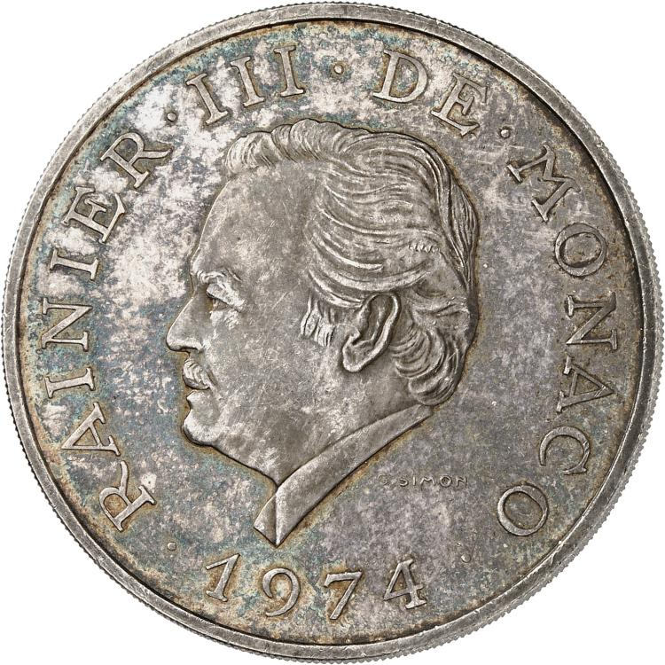 MONACO Rainier III (1949-2005). 100 francs 1974, essai en argent.