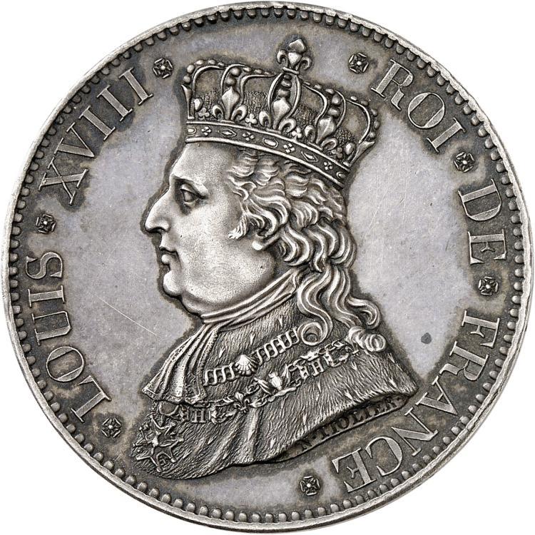 FRANCE Louis XVIII (1814-1824). Module de 5 francs 1817, visite de la duchesse d'Angoulême à la Monnaie de Paris.
