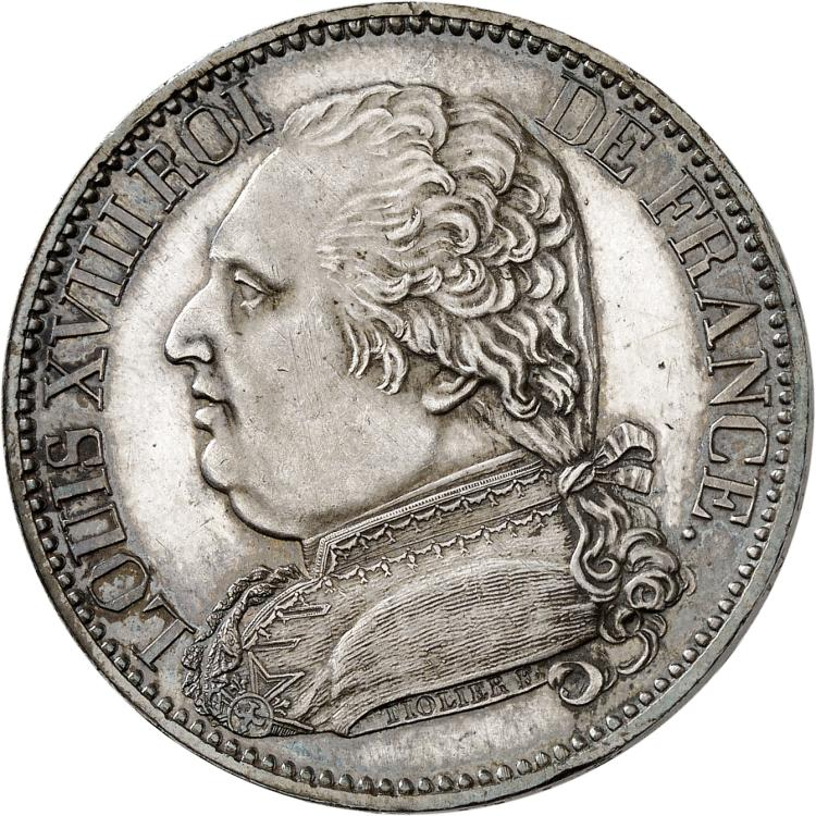 FRANCE Louis XVIII (1814-1824). Module de 5 francs 1814, visite du comte d'Artois à la monnaie de Marseille.