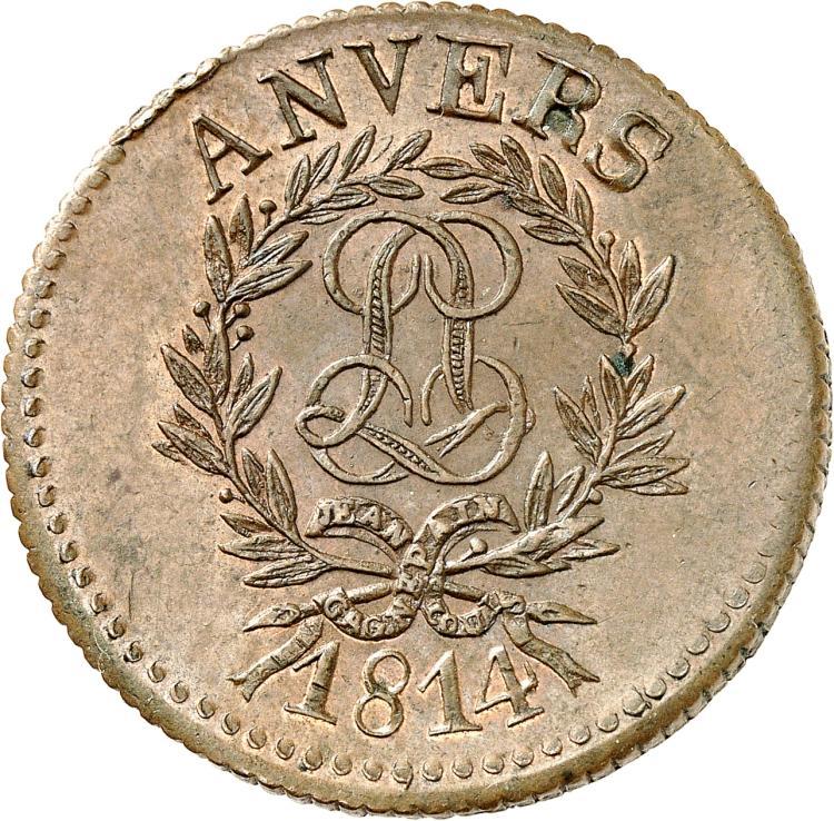 FRANCE Louis XVIII (1814-1824). 10 centimes 1814, Siège d'Anvers, frappe médaille et tranche cannelée.