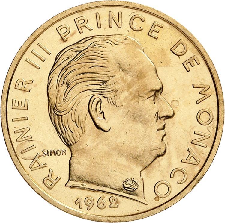 MONACO Rainier III (1949-2005). 20 centimes 1962, piéfort en or.
