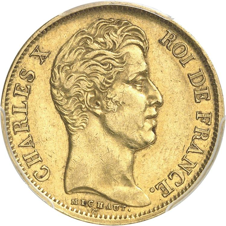 FRANCE Charles X (1824-1830). 40 francs 1827, Paris.