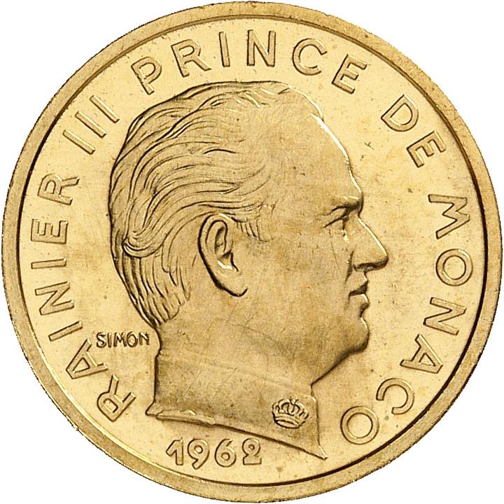 MONACO Rainier III (1949-2005). 10 centimes 1962, piéfort en or.
