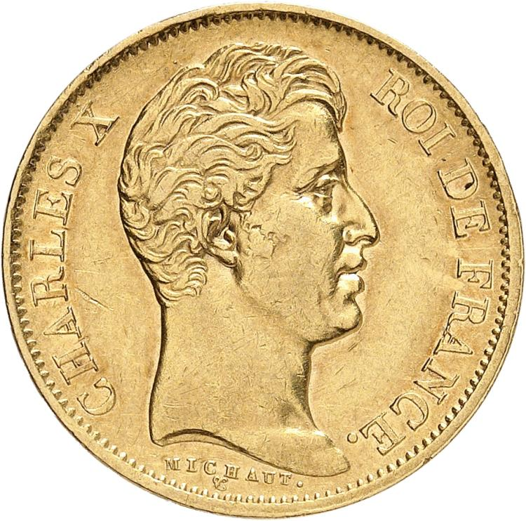 FRANCE Charles X (1824-1830). 40 francs 1830 Paris, tranche en relief.