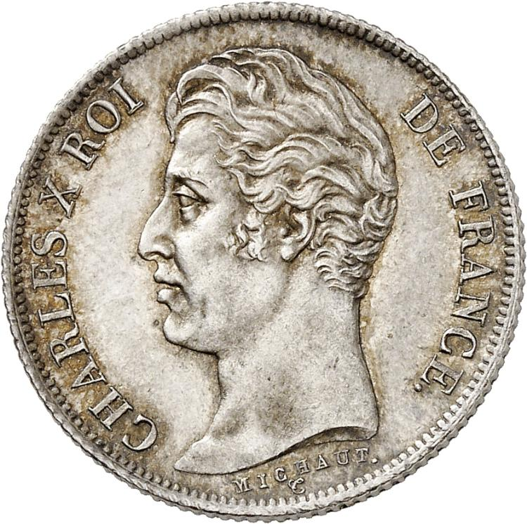 FRANCE Charles X (1824-1830). Franc 1830 Paris, tranche striée.