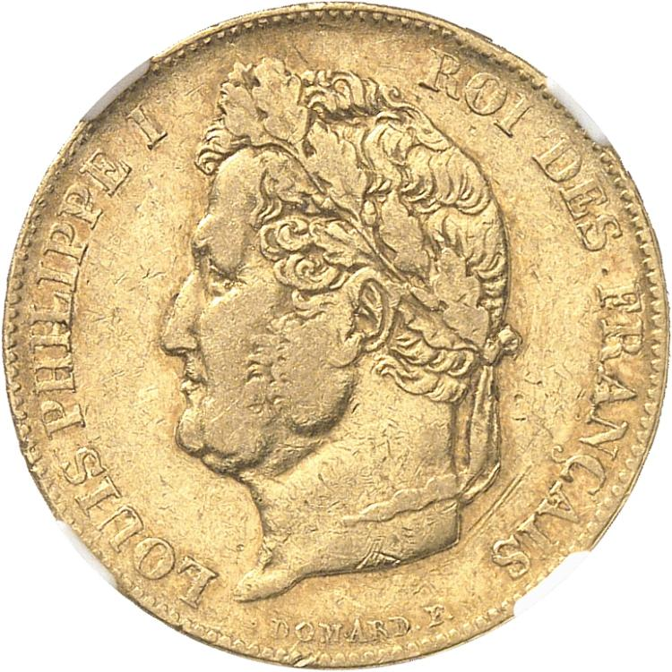 FRANCE Louis Philippe (1830-1845). 20 francs or 1845, Paris.
