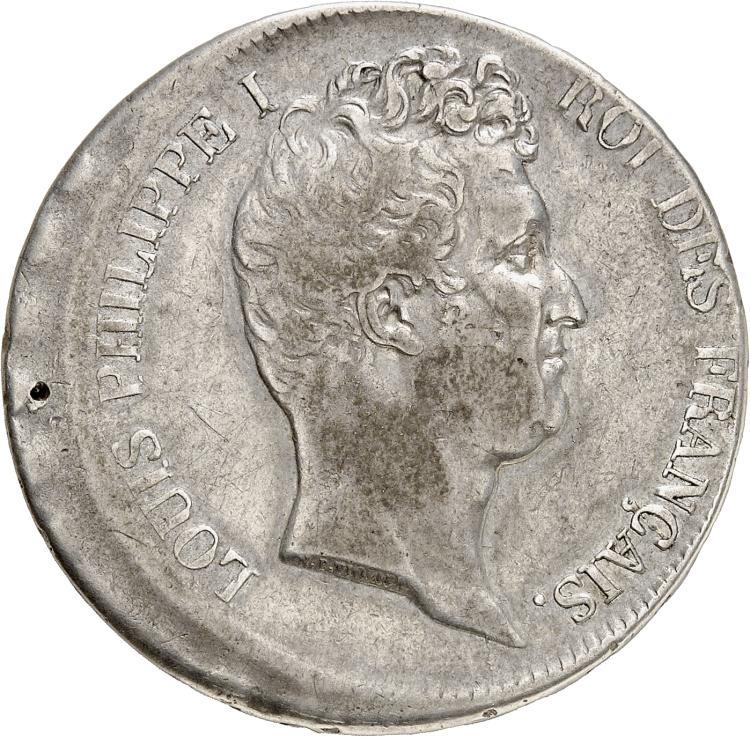 FRANCE Louis Philippe (1830-1848). 5 francs 1831, Paris, frappe décentrée.