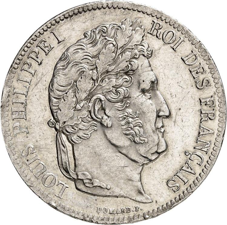 FRANCE Louis Philippe (1830-1848). 5 francs, frappe incuse.