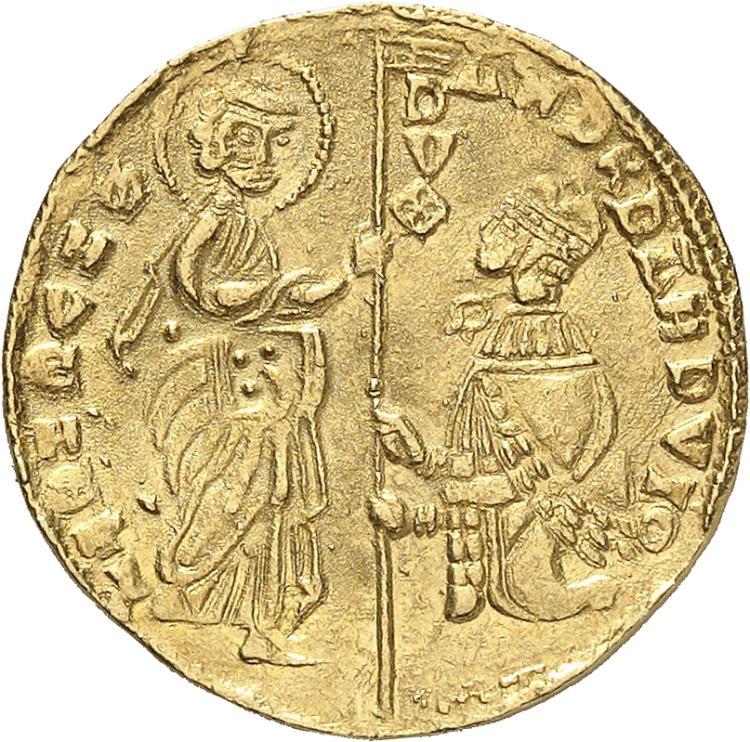 ITALIE Achaïe, Robert d'Anjou (1346-1364). Sequin, imitation des émissions vénitiennes.