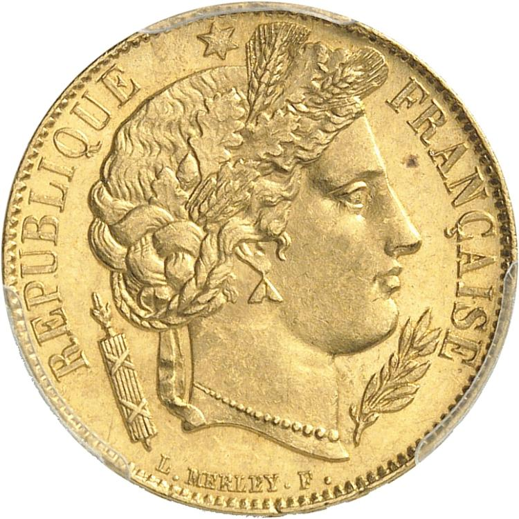 FRANCE II République (1848-1852). 20 francs or 1851, Paris.